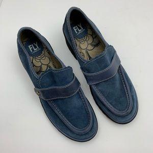 Fly London Shoes - Fly London Wend Blue Suede Loafer Platform Heel 40
